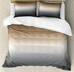 Ombre Duvet Cover Set with Pillow Shams Brown and Grey Patte