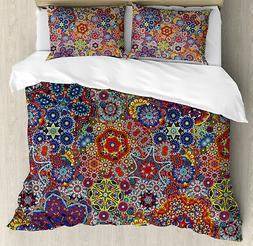 Paisley Duvet Cover Set with Pillow Shams Combined Nested Pa
