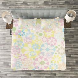 Pastel Quilted Bedspread & Pillow Shams Set, Blooming Flower