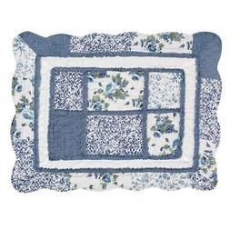 patchwork classic floral pillow sham with scalloped