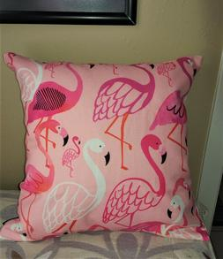 PILLOW COVER Colorful Flamingos LInen NIB Only 18 inch Squar