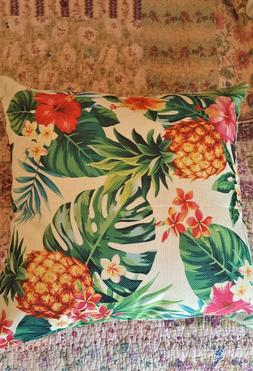 PILLOW COVER Pineapples and Palm Leaves LInen NIB Only 18 in
