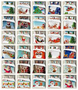 Santa Duvet Cover Set Twin Queen King Sizes with Pillow Sham