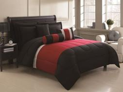 Chic Home Serenity 10 Piece Comforter Set, Red/Black, Sheets