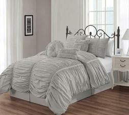 Chezmoi Collection Shabby Chic Ruched Ruffle Comforter Set W