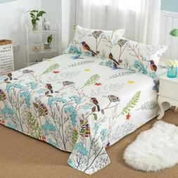 Floral Printed Bed Sheet Flat Sheet Pillowcase for Children