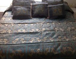Silk Queen Bed Cover Handmade w/ 5 Pillow Covers India Teal