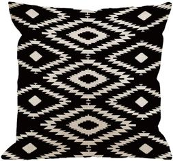 HGOD DESIGNS Throw Pillow Case Black and White Cotton Linen