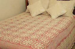 Vintage 100% Cotton Handmade Crochet Lace Bed Spread King 96