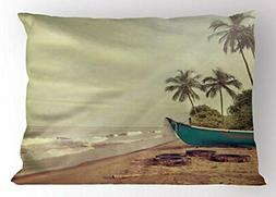 Lunarable Vintage Hawaii Pillow Sham Old Boat and Dirty Tire