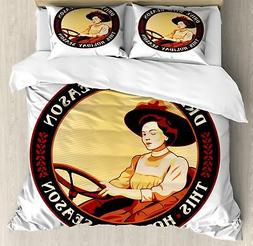 Vintage Woman Duvet Cover Set Twin Queen King Sizes with Pil